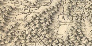 Mieres en el mapa de 1696 (Fuente. IGN)