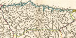Mieres en un mapa 1752 (Fuente: IGN)