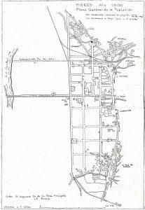 Plano de Mieres del Camín 1900 (Fuente: Noticias históricas sobre Mieres y su concejo)
