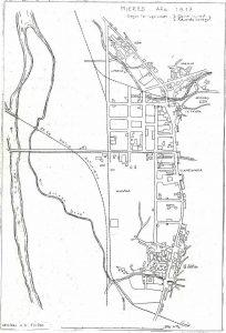 Plano de Mieres del Camín 1917 (Fuente: Noticias históricas sobre Mieres y su concejo)