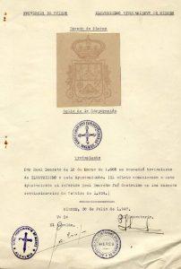 Documento envío de datos relativos al escudo y sello - Julio 1947
