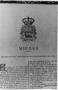 Escudo de Mieres de la obra Asturias de Bellmunt y Canella - 1900