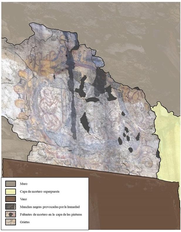 06-Pinturas murales El Llugarin-Estado de conservación y daños de la segunda escena