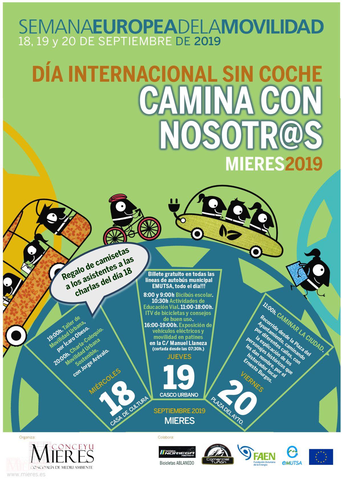 Cartel Web Dia Internacional Sin Coche 2019 Bocadillo Camisetas