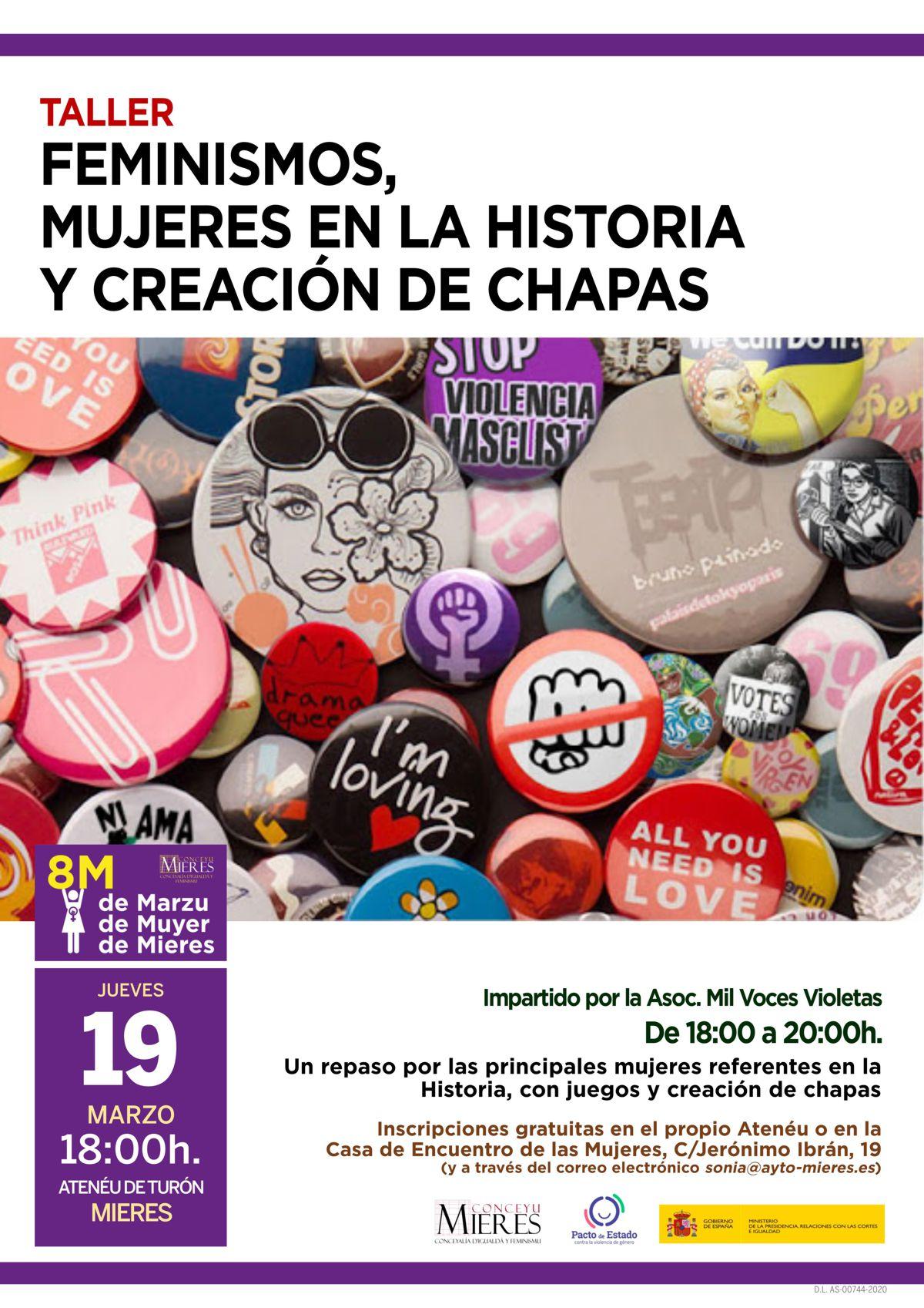 19M CARTEL Taller Feminismo Historia Chapas Marzo 2020