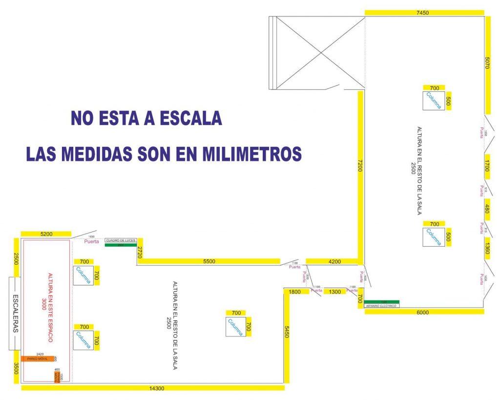 PLANO SALA EXPOSICIONES MIERES CENTRO CULTURAL 1200
